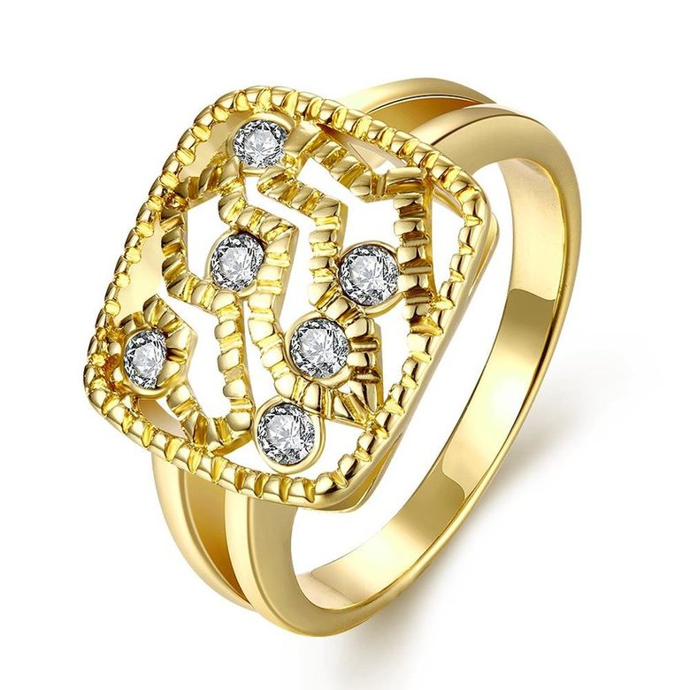 Wholesale Classic 24K Gold Geometric White Rhinestone Ring TGGPR1207