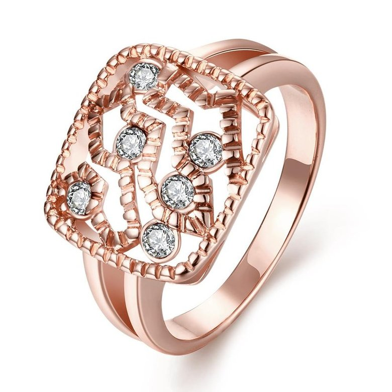 Wholesale Classic Rose Gold Geometric White Rhinestone Ring TGGPR1214