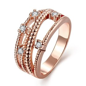 Wholesale Classic Rose Gold Geometric White CZ Ring TGGPR013
