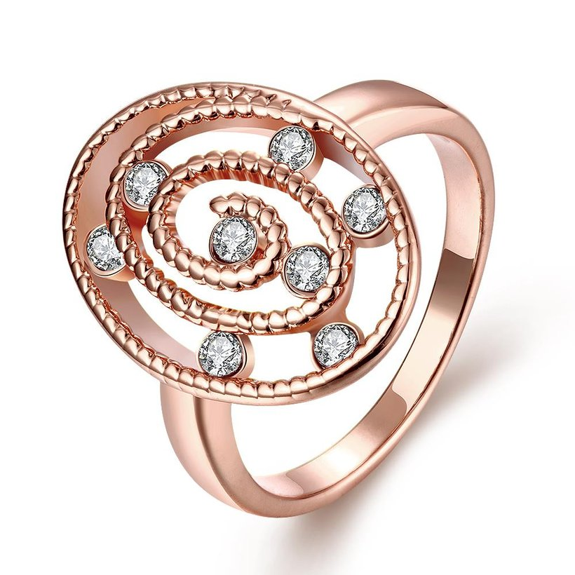 Wholesale Romantic Rose Gold Oval White CZ Ring TGGPR1305