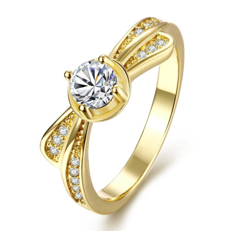 Wholesale Classic 24K Gold Geometric White CZ Ring TGGPR1365
