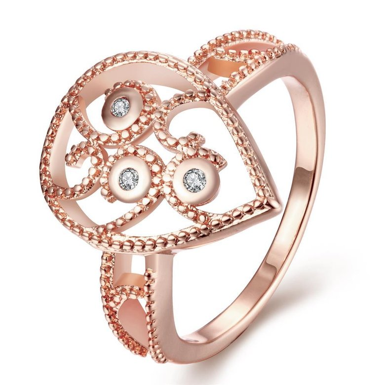 Wholesale Classic Rose Gold Water Drop White CZ Ring TGGPR1384
