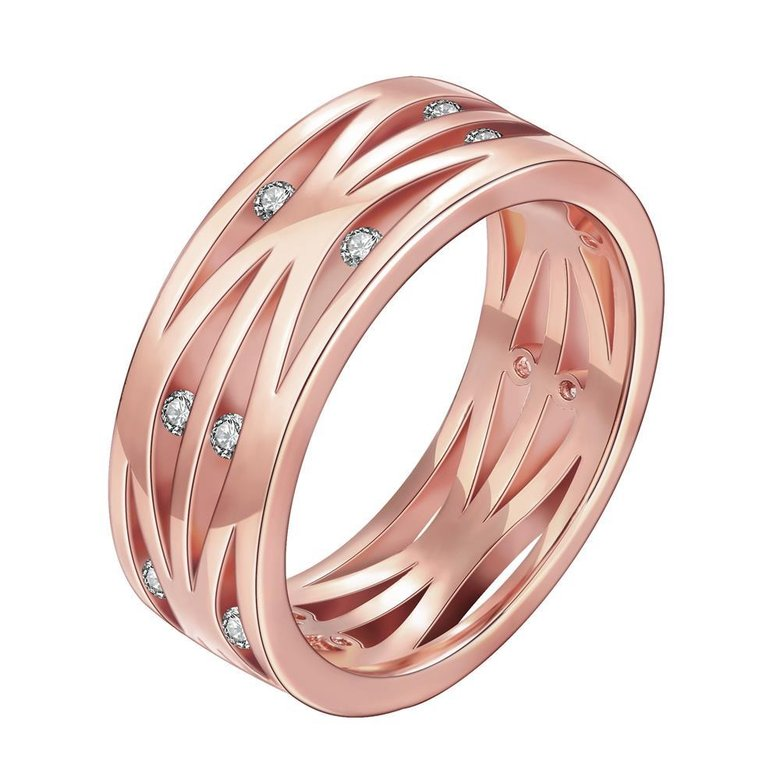 Wholesale Classic Rose Gold Round White CZ Ring TGGPR1394