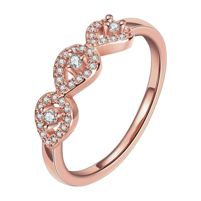 Wholesale Classic Rose Gold Plant White CZ Ring TGGPR1437