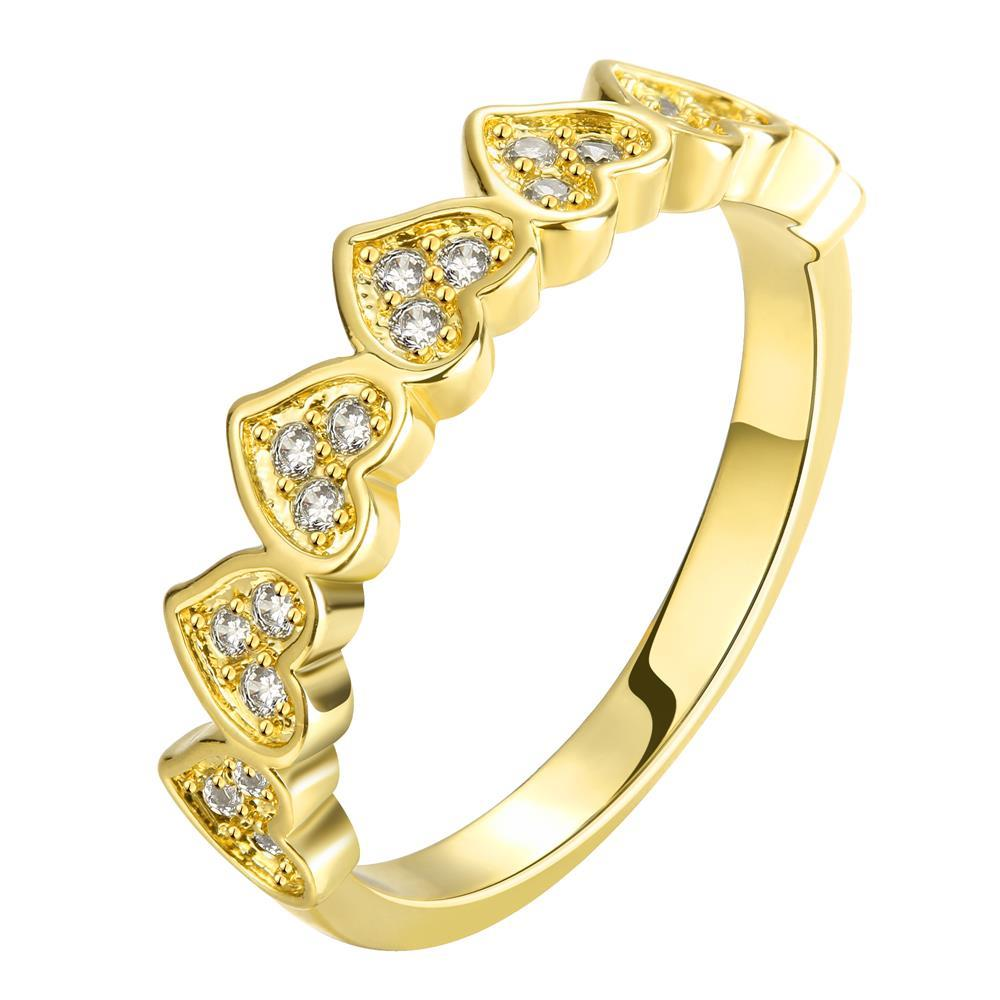 Wholesale Classic 24K Gold Heart White CZ Ring TGGPR1453