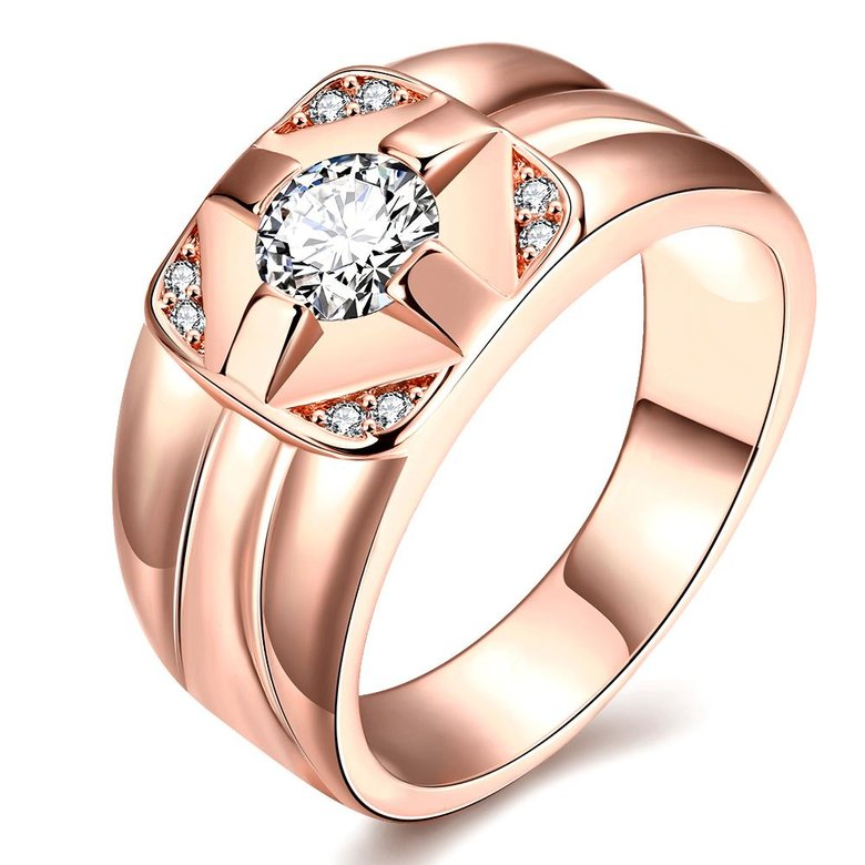 Wholesale Classic Rose Gold Geometric White CZ Ring TGGPR1473