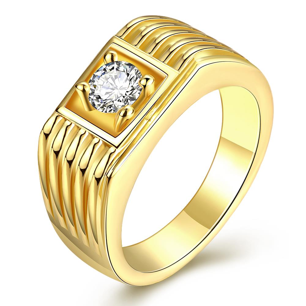 Wholesale Classic 24K Gold Geometric White CZ Ring TGGPR1483