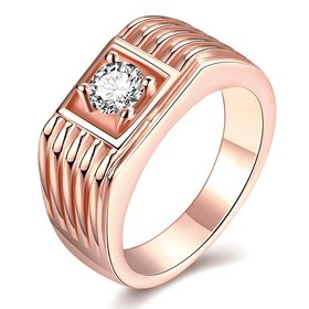 Wholesale Classic Rose Gold Geometric White CZ Ring TGGPR1489