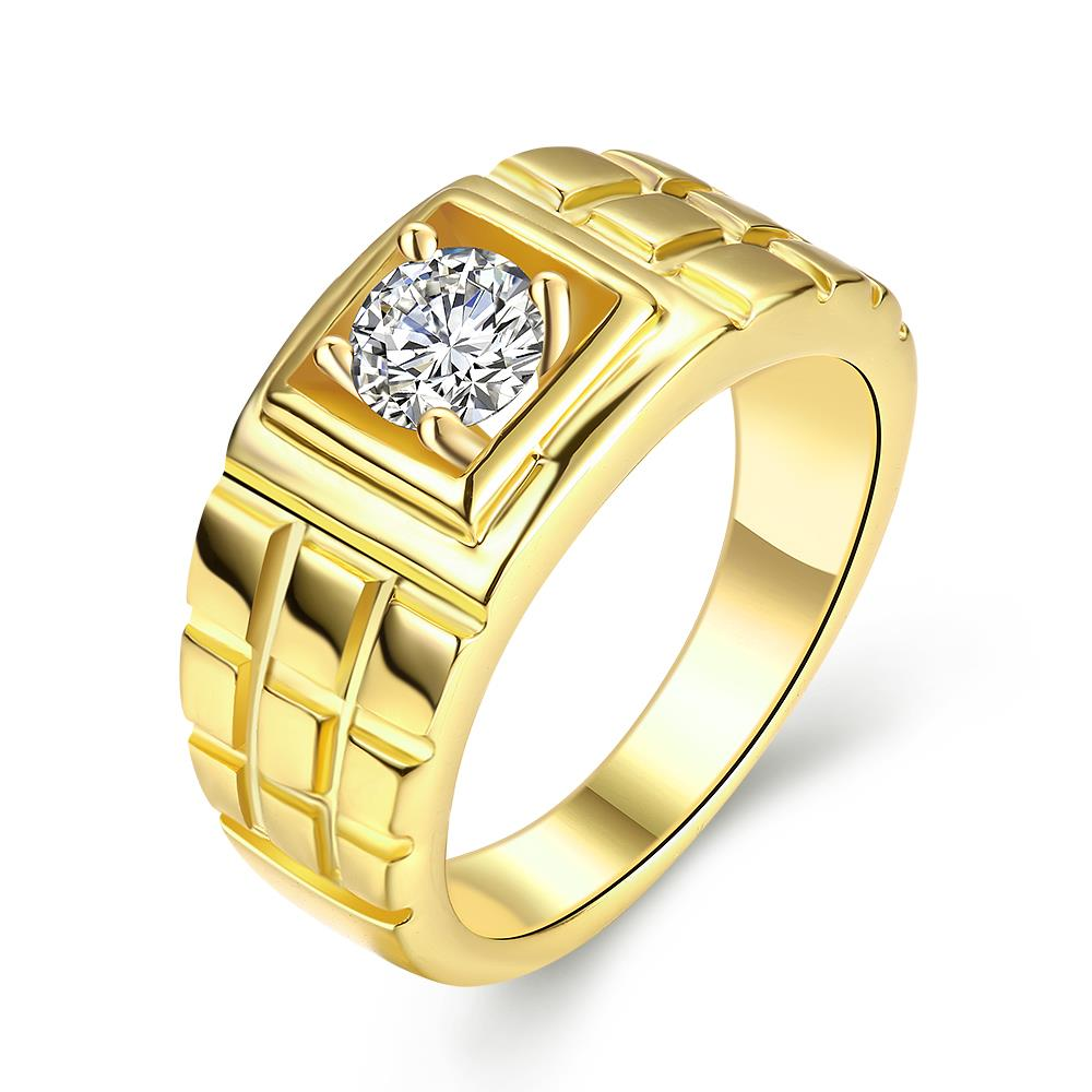 Wholesale Classic 24K Gold Geometric White CZ Ring TGGPR1502