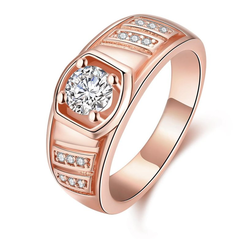 Wholesale Classic Rose Gold Geometric White CZ Ring TGGPR208