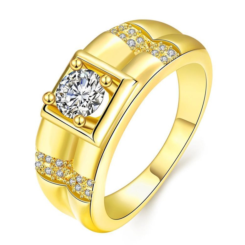 Wholesale Trendy 24K Gold Geometric White CZ Ring TGGPR243