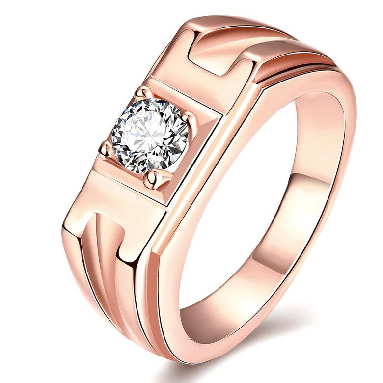 Wholesale Classic Rose Gold Geometric White CZ Ring TGGPR270