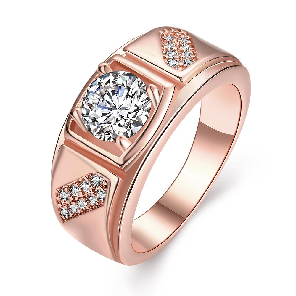 Wholesale Classic Rose Gold Geometric White CZ Ring TGGPR312