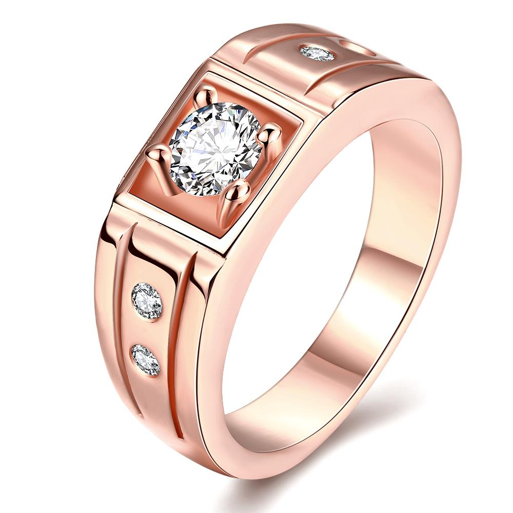 Wholesale Classic Rose Gold Geometric White CZ Ring TGGPR334