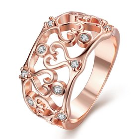 Wholesale Classic Rose Gold Heart White CZ Ring TGGPR411
