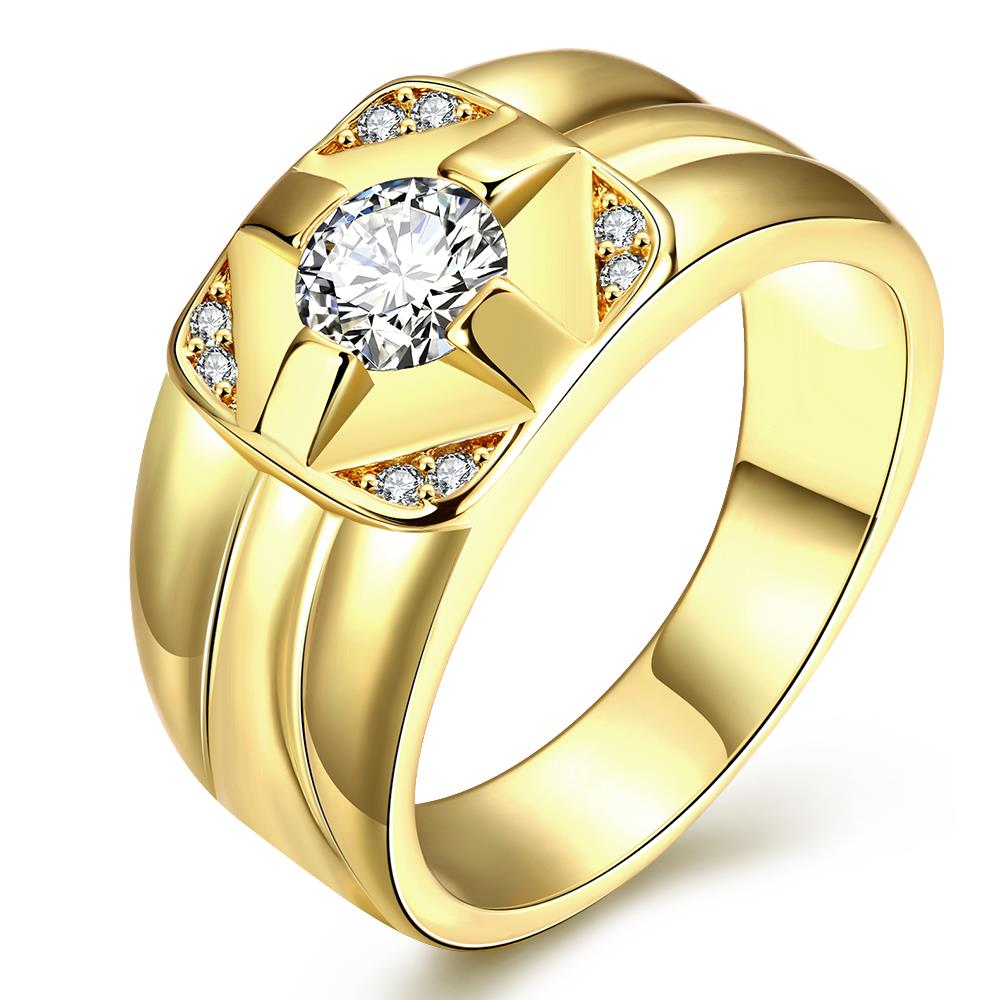 Wholesale Classic 24K Gold Geometric White CZ Ring TGGPR423