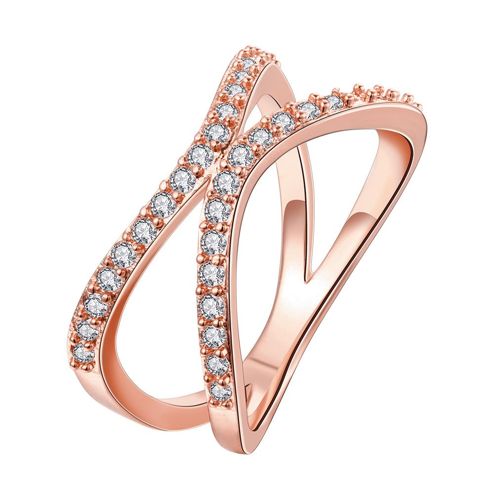 Wholesale Classic Rose Gold Geometric White CZ Ring TGGPR511