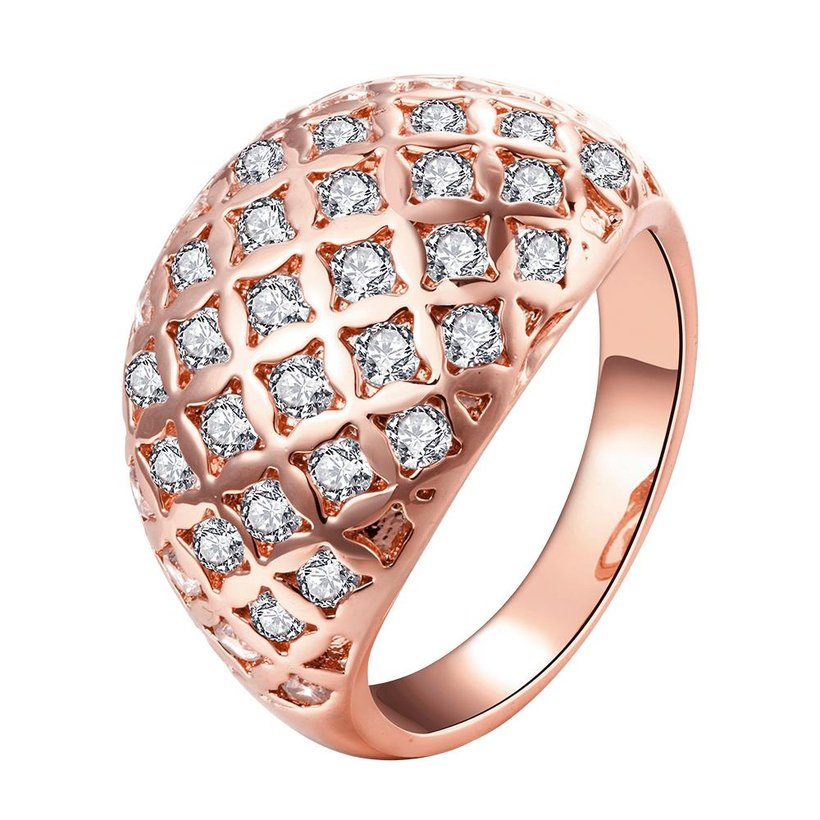 Wholesale Classic Rose Gold Geometric White CZ Ring TGGPR550