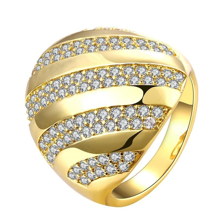 Wholesale Classic 24K Gold Water Drop White CZ Ring TGGPR554