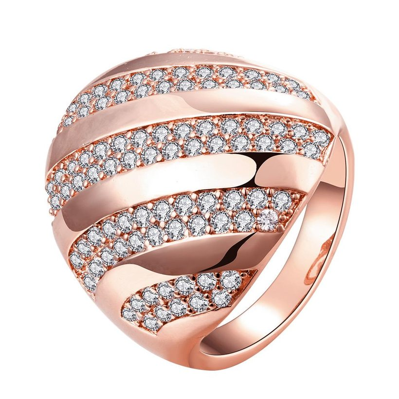 Wholesale Classic Rose Gold Round White CZ Ring TGGPR558