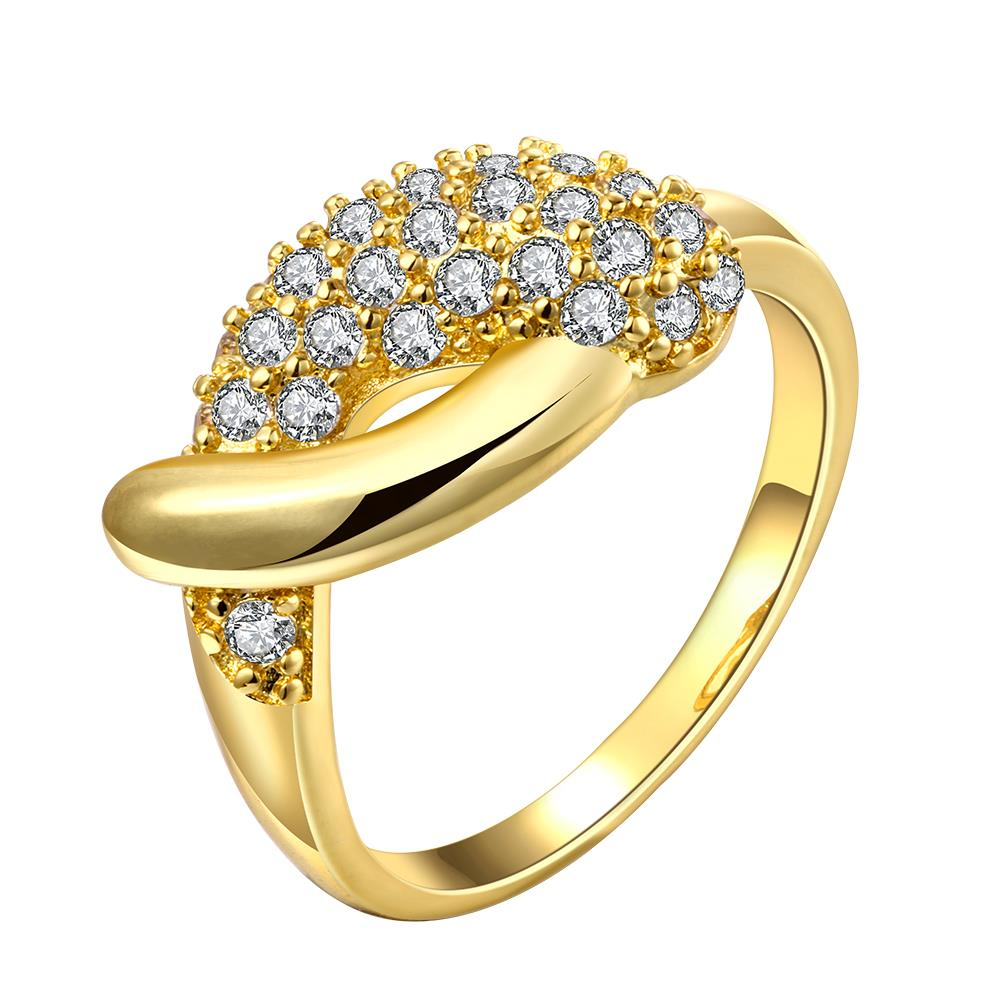 Wholesale Classic 24K Gold Water Drop White CZ Ring TGGPR563