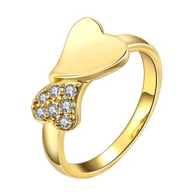 Wholesale Classic 24K Gold Heart White CZ Ring TGGPR583
