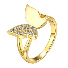 Wholesale Classic 24K Gold Insect White CZ Ring TGGPR606