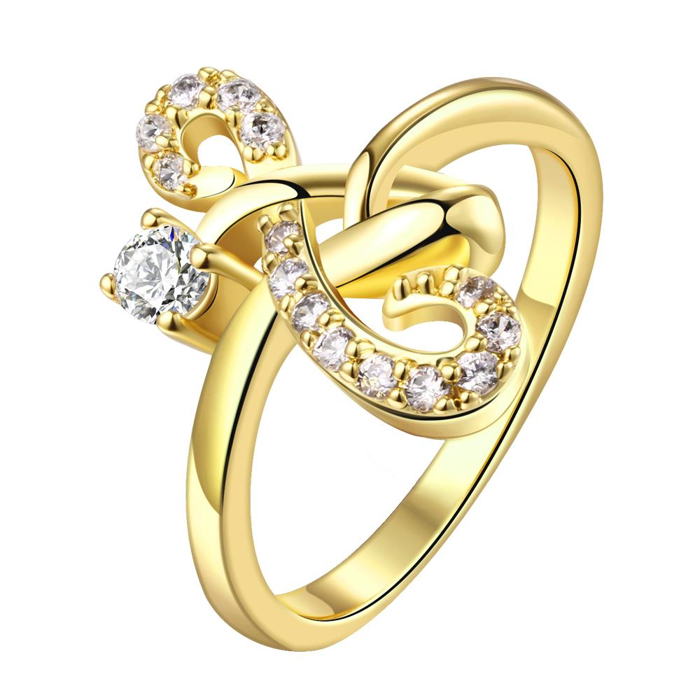 Wholesale Classic 24K Gold Geometric White CZ Ring TGGPR640