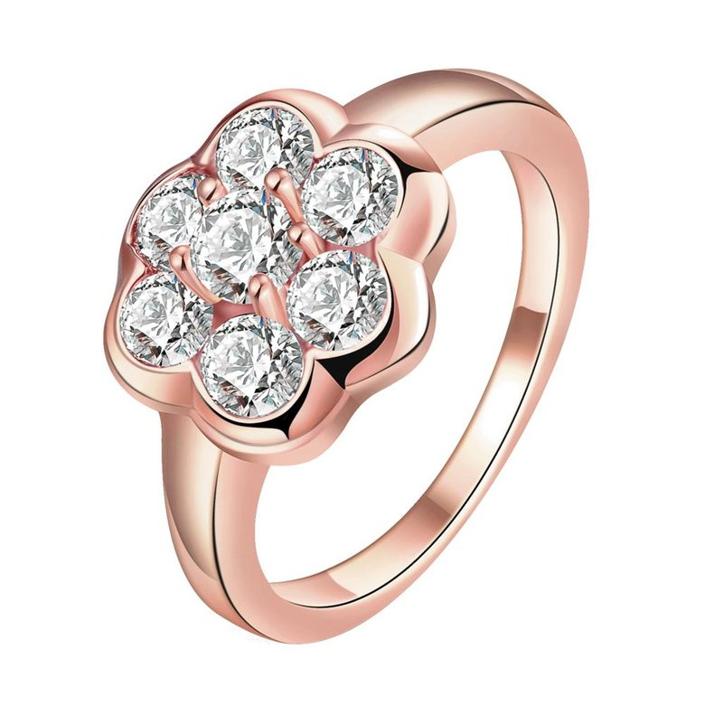 Wholesale Classic Rose Gold Plant White CZ Ring TGGPR654
