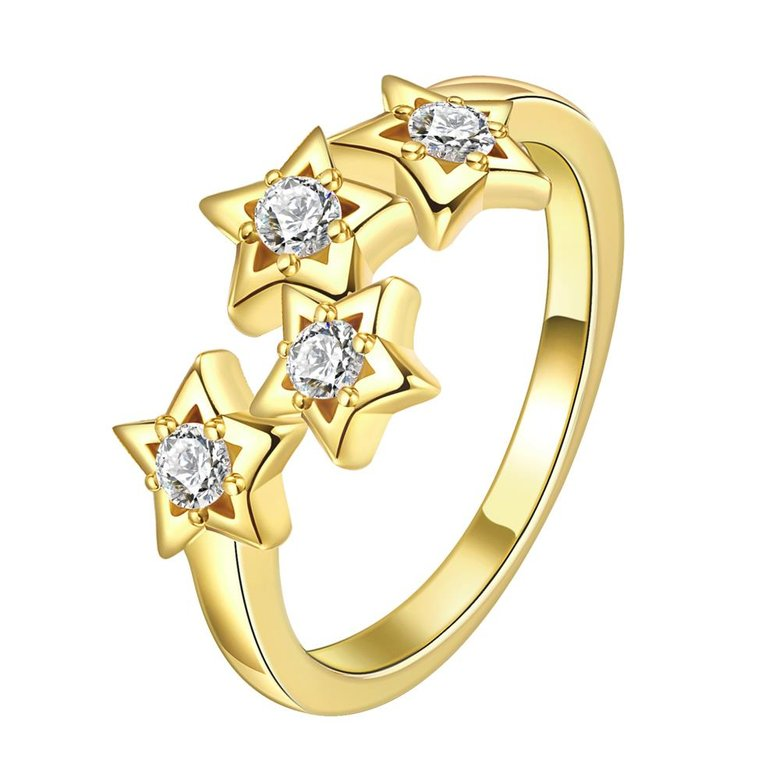Wholesale Classic 24K Gold Plant White CZ Ring TGGPR669