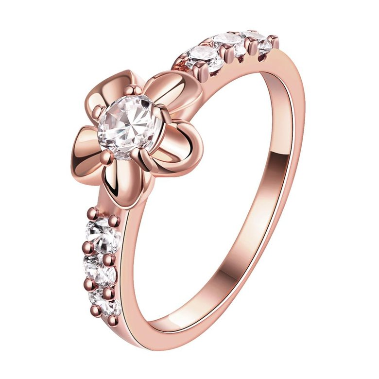 Wholesale Classic Rose Gold Plant White CZ Ring TGGPR674