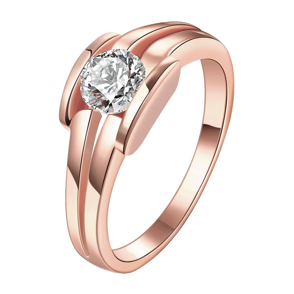 Wholesale Classic Rose Gold Geometric White CZ Ring TGGPR682