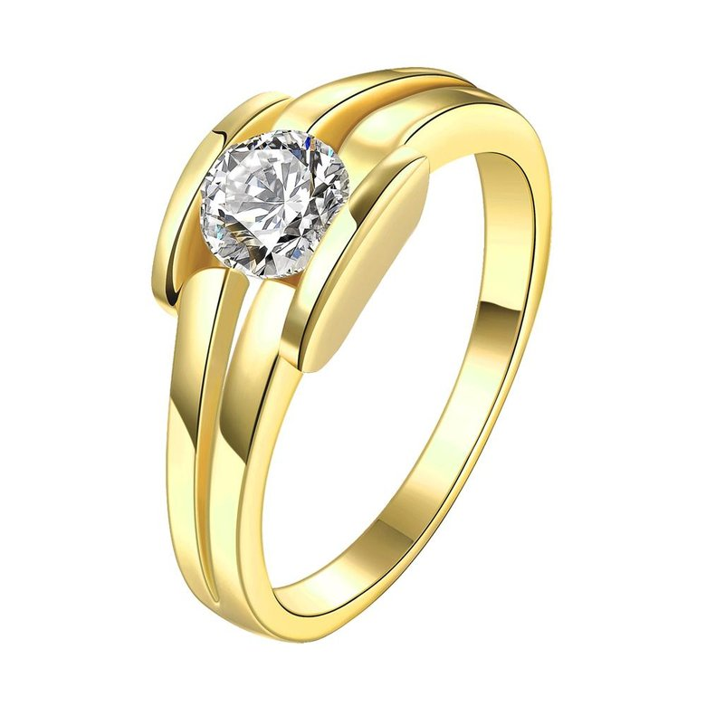 Wholesale Classic 24K Gold Geometric White CZ Ring TGGPR686
