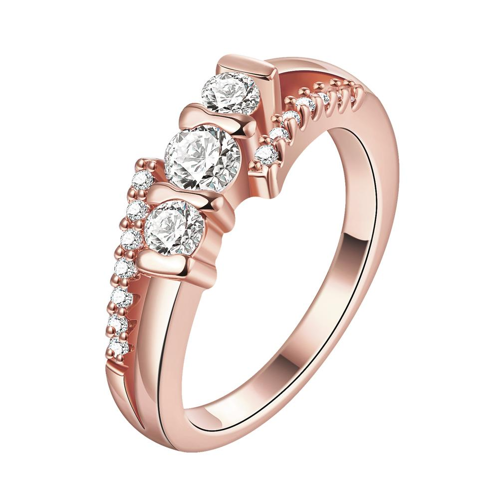 Wholesale Classic Rose Gold Geometric White CZ Ring TGGPR690