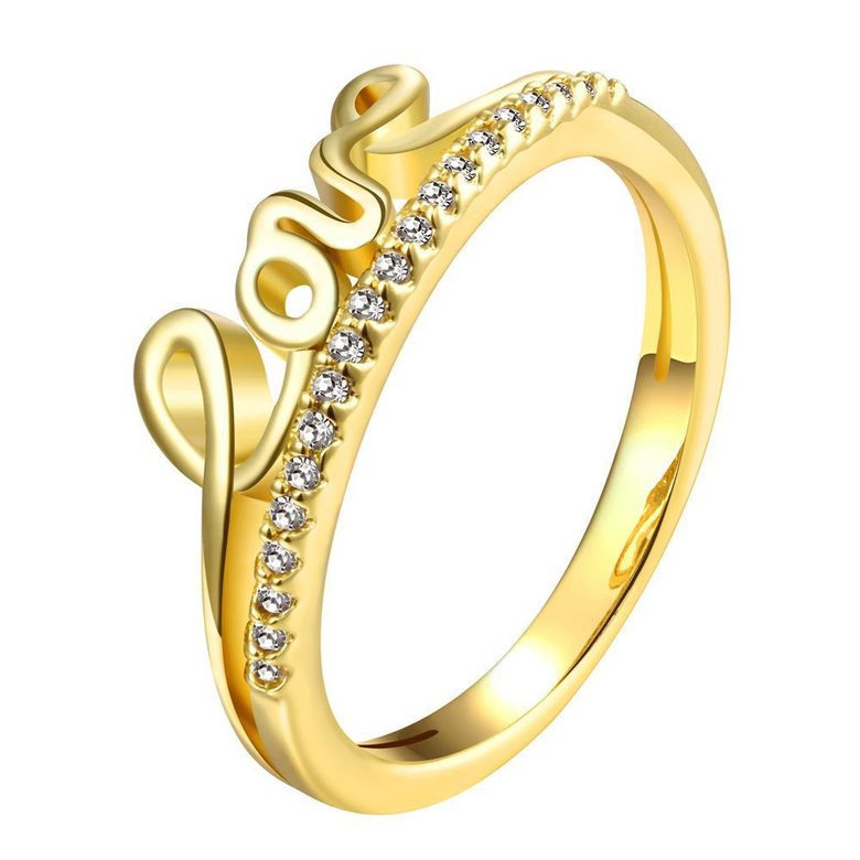 Wholesale Classic 24K Gold Letter White CZ Ring TGGPR710