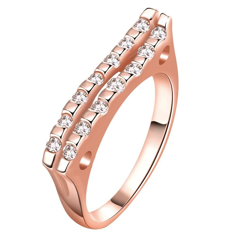 Wholesale Classic Rose Gold Geometric White CZ Ring TGGPR714