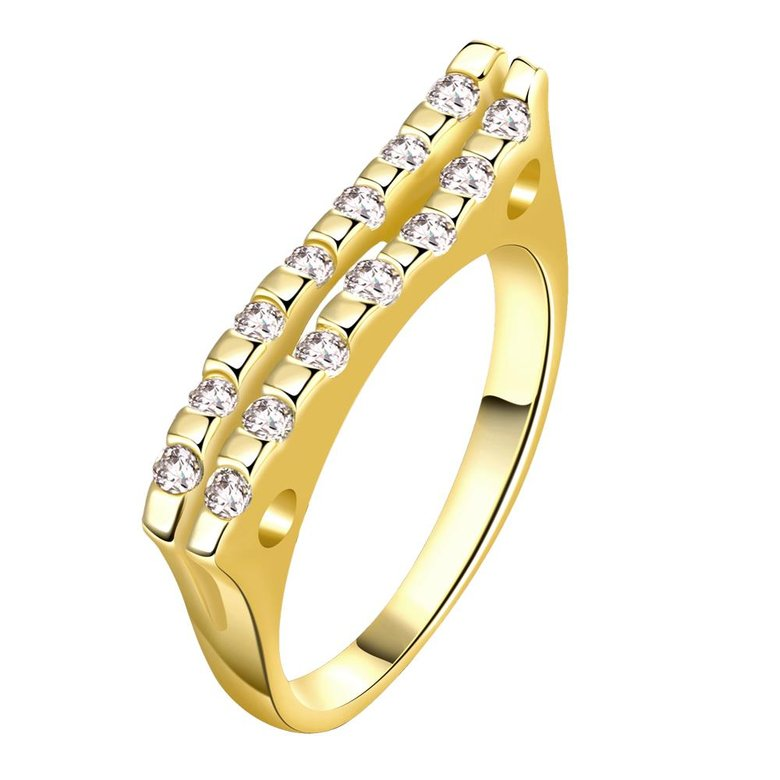 Wholesale Classic 24K Gold Geometric White CZ Ring TGGPR718