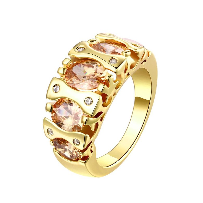 Wholesale Classic 24K Gold Geometric Brown CZ Ring TGGPR875