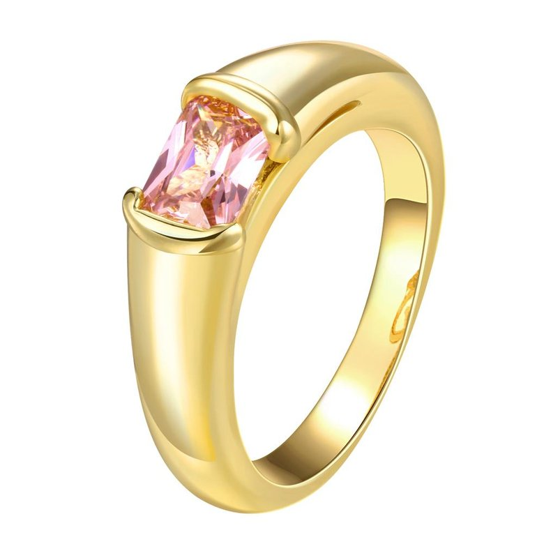 Wholesale Classic 24K Gold Geometric White CZ Ring TGGPR909