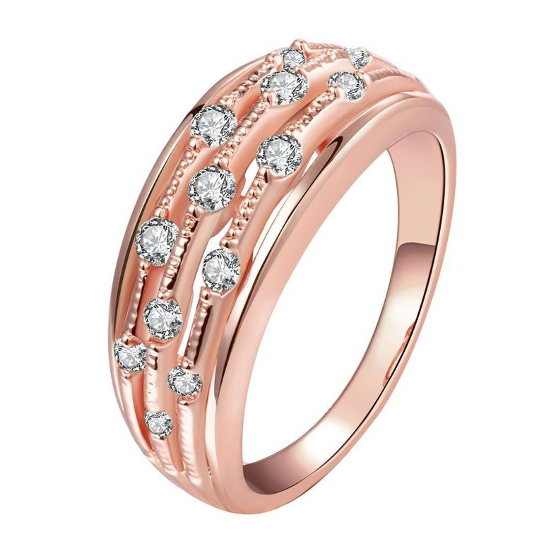 Wholesale Classic Rose Gold Geometric White CZ Ring TGGPR916