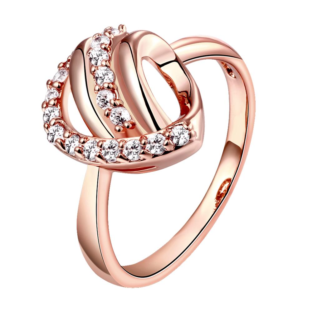 Wholesale Classic Rose Gold Heart White CZ Ring TGGPR959