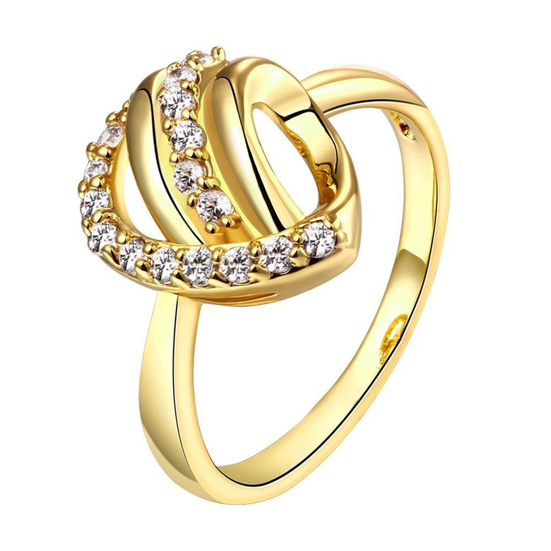 Wholesale Classic 24K Gold Heart White CZ Ring TGGPR966
