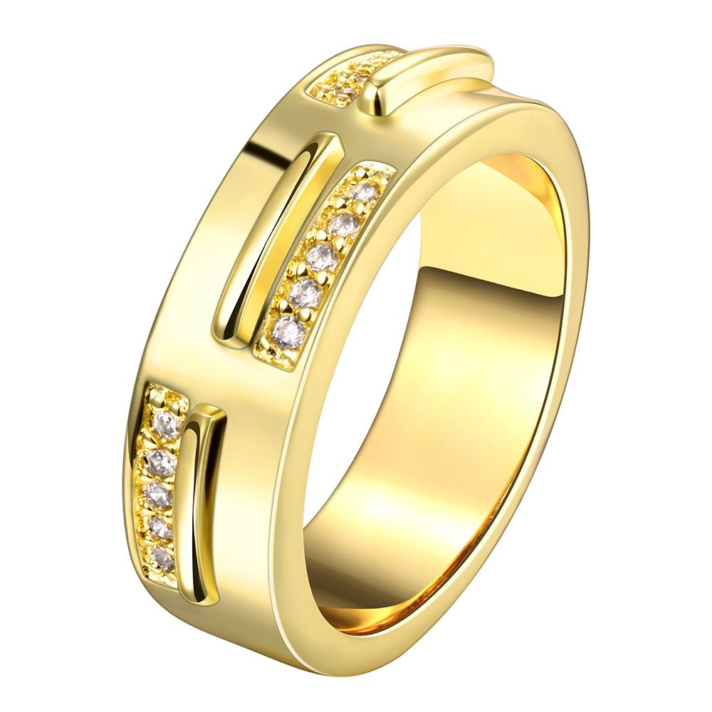 Wholesale Classic 24K Gold Geometric White CZ Ring TGGPR1006