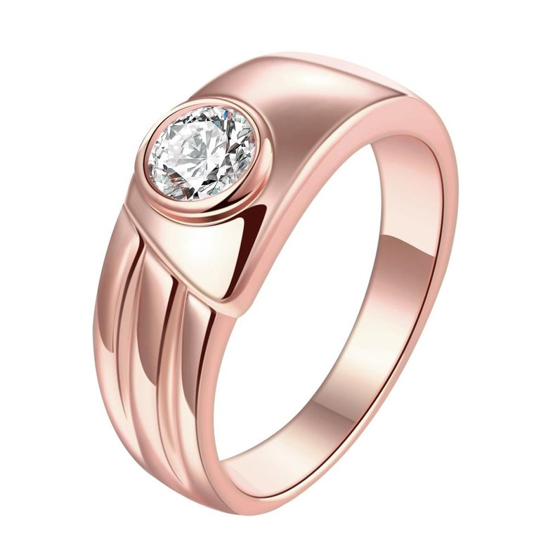 Wholesale Classic Rose Gold Round White CZ Ring TGGPR1026
