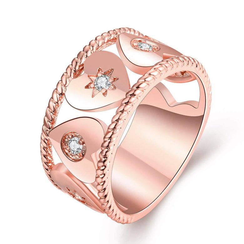Wholesale Trendy Rose Gold Geometric White CZ Ring TGGPR1063