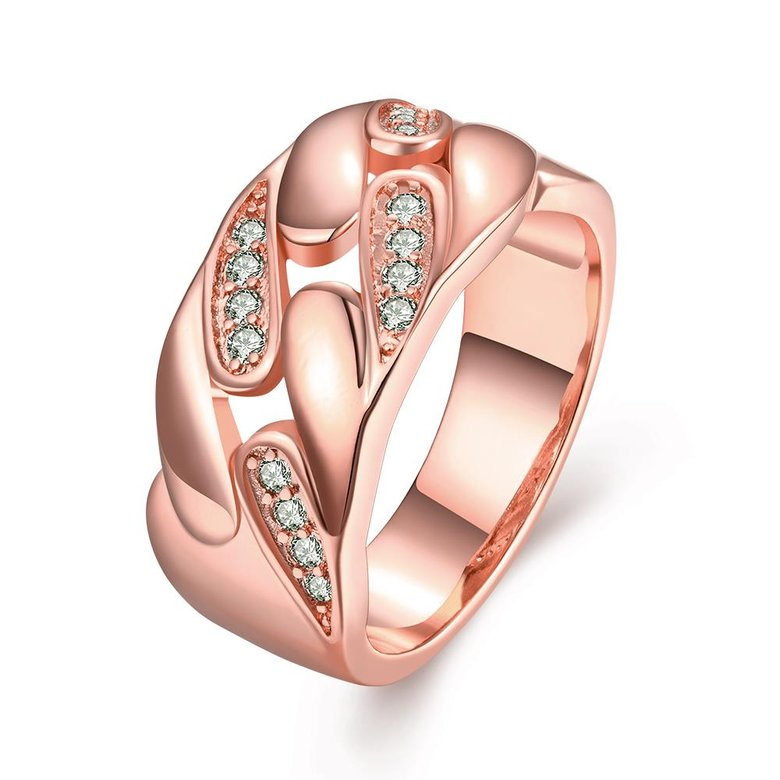 Wholesale Romantic Rose Gold Geometric White CZ Ring TGGPR1084