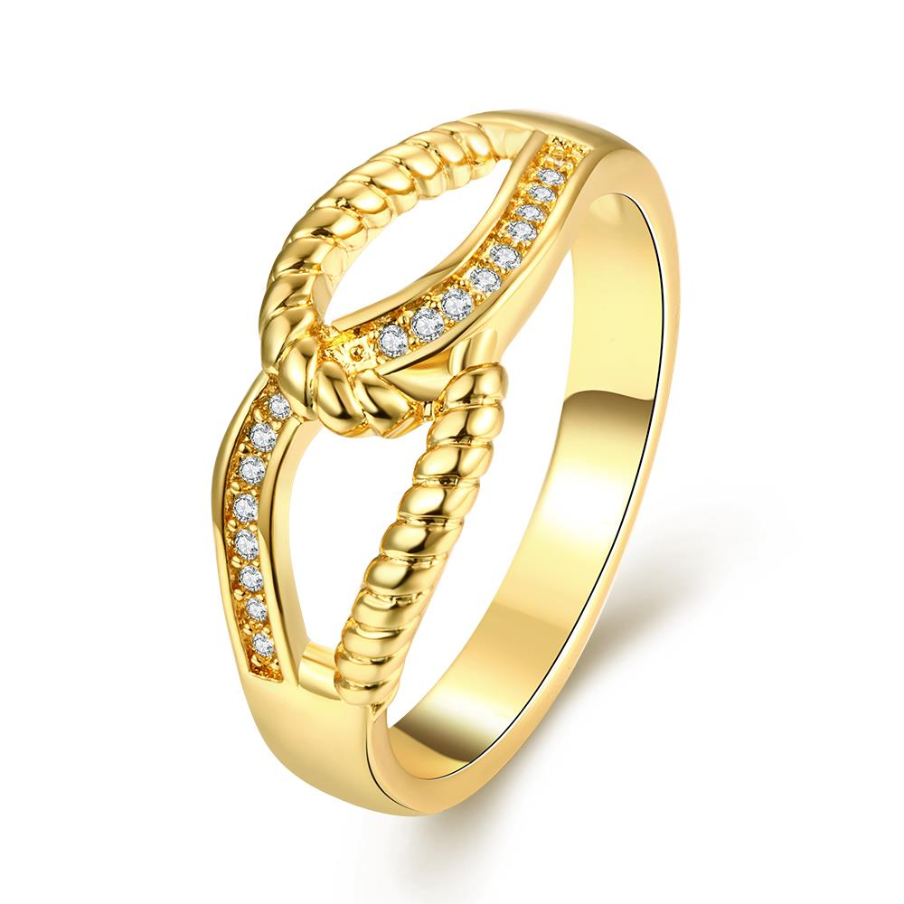 Wholesale Classic 24K Gold Feather White CZ Ring TGGPR1180