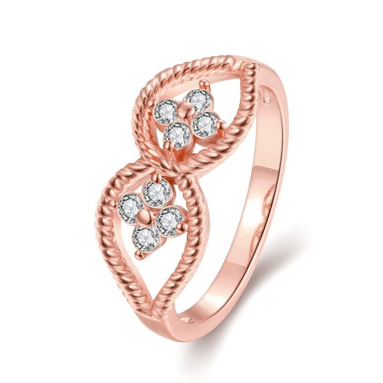 Wholesale Romantic Rose Gold Plant White CZ Ring TGGPR1236