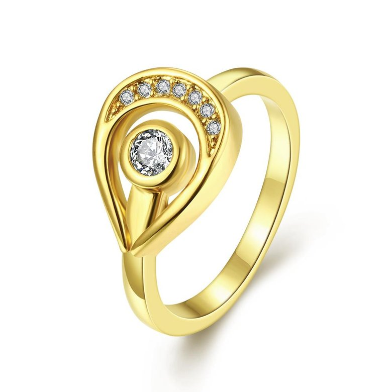 Wholesale Trendy 24K Gold Water Drop White CZ Ring TGGPR1249