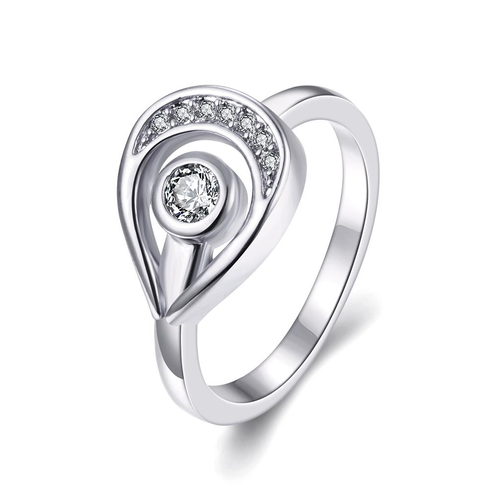 Wholesale Trendy Platinum Water Drop White CZ Ring TGGPR1261